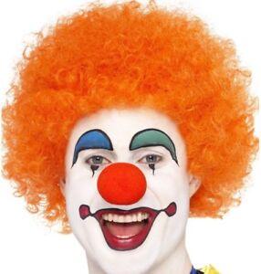 70s 80s 1980s Mens Ladies Crazy Clown Afro Wig Fancy Dress Orange by Smiffys New