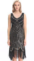 dress gatsby flapper 1920s size beaded vintage 8 fringe sequin s uk 24 14 great