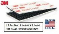 "12 Strips 3M 1""x 2"" Dual Lock SJ3550 Black Reclosable Fastener In/Outdoor"