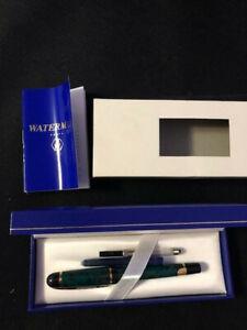 WATERMAN PHILEAS FOUNTAIN PEN GREEN MARBLE PARIS FIne tip orig. box, never used