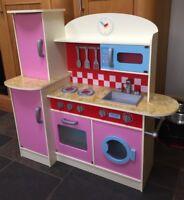 New Wooden Childrens Kids Washing Machine Pretend Play