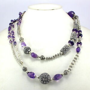 Gemstone Necklace Natural Amethyst Faceted Gemstone Beaded Handmade Jewelry