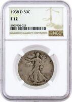 1938 D 50C Walking Liberty Silver Half Dollar NGC F12 Circulated Coin #027