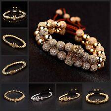 Hot Gorgeous Cubic Micro Pave Gold CZ Crown Charm Men's CZ Copper Bead Bracelets