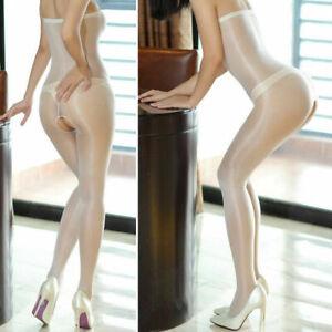 Women Sexy Shiny Sheer Gloss Tights Pantyhose Open Crotch Bodystockings Lingerie