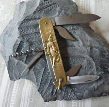 Couteau figuratif en laiton Parapluie à l'épreuve Pocket knife brass handle 1930