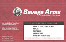 Savage Arms Bolt Action Centerfire Instruction and Maintenance Manual All Models