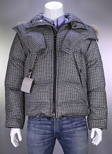 NWT New * TOM FORD * Black/White Check Wool Down Puffer Fur Hood Coat 38/Small