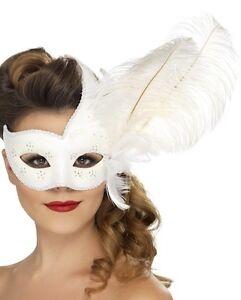 Bal Masqué Déguisement Loup Masque Bal de Promo Blanc Colombine par Smiffys