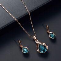 Elegant Rose Gold Water Drop Aquamarine Pendant Necklace Earrings Jewellery Set