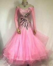 Ballroom Competition Dance Dress Pink Organza Waltz Smooth Gown Rich Decoration