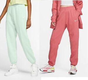 Nike Women's Fleece Pants Trousers Bottoms Sportswear Essential  Green Pink