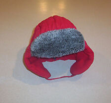 Infant Boy's Faded Glory Red Quilted with Fur Ear Flaps Winter Hat One Size