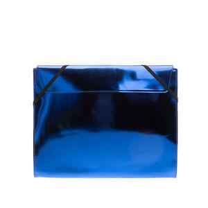 RRP €435 MM6 MAISON MARGIELA Clutch Bag Large Metallic Varnished Flap Closure