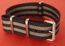 NATO Strap Armband 20 mm grau Schwarz wie James Bond 007 RG 7357