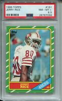1986 Topps Football #161 Jerry Rice Rookie Card RC Graded PSA NM Mint+ 8.5 49ers