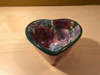 LESAL CERAMICS Heart-Shaped Hand Crafted Hand Painted Bowl ~ Floral Rose Vines