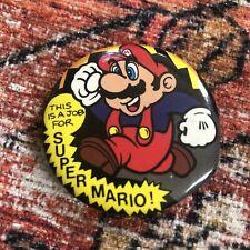 1989 This Is A Job For Super Mario Bros Pin Nintendo Button NOA OSP Publishing
