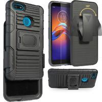 Case for Motorola Moto E6 Play Holster BeltClip Case Hybrid Defender Armor Cover