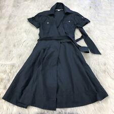 Diane Von Furstenberg Women's 0 Black Cotton Blend Short Sleeve Wrap Dress