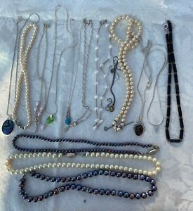 JOB LOT Costume Jewellery 15 pieces Sterling Silver Necklaces