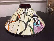 "Colorful Stained Glass lamp Shade Clown design 21"" w Showroom display"