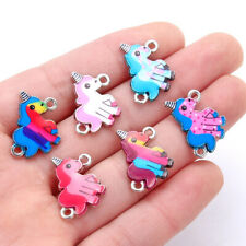 10X Cartoon Horse Unicorn Enamel Charm Connector Silver Bead DIY Jewelry Finding