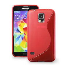 [SLIM GRIP] Samsung Galaxy S5 Case Premium Flexible S Type TPU Cover,Case - Red