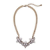Collier Doré Floral Cristal Art Deco Perle Class Mariage Fin Retro AMN 1