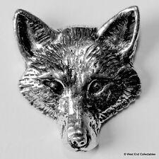Fox Head Front Pewter Brooch Pin - British Artisan Signed Badge - Hunting Dog