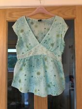 Gap Size S Chest 32 Inch Aqua Coloured Floral 100% Silk Cap Sleeved Top