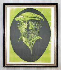 Mid Century Modern Leonard Baskin Self Portrait Age 42 Framed Signed Green 13/15