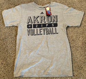NEW adidas Akron Zips Volleyball Adult Gray Short Sleeve T Shirt M Medium