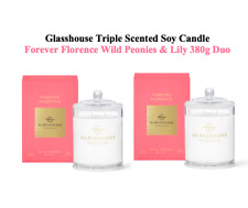 Glasshouse Forever Florence 380gx2 Soy Candle Wild Peonies Lily Handmade