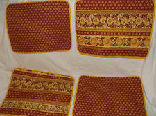 LOT/SET OF 4 QUILTED/PADDED CLOTH PLACEMATS RED/YELLOW FRENCH PROVENCIAL FLORAL