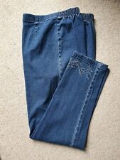 LADIES PULL ON CROPPED JEANS SIZE 16