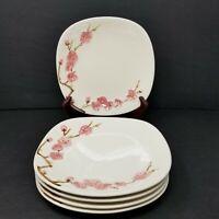 "Vintage 50s METLOX Poppytrail PEACH BLOSSOM Set of 5 Salad/Lunch Plates 7.5"""