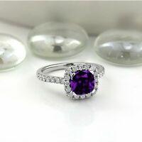 4ct Cushion Cut Purple Amethyst Diamond Halo Engagement Ring 14k White Gold Over