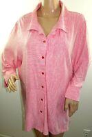 Links Women Plus Size 1x 2x 3x Red White Striped Button Down Shirt Blouse Top
