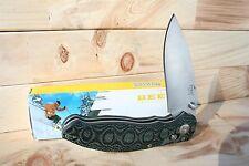 "Beautiful Micarta Handle Enlan Axis Lock Drop Point Solid Folding Knife- 8"" open"