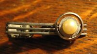 Art Deco Tie Clip - Vintage Silver Metal Faux Pearl Atomic Mid Century Tie Clasp