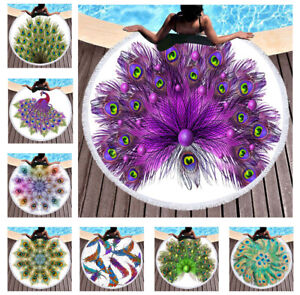 Beautiful Peacock Feathers Plumes Large Round Beach Towel Blanket Shawl Tapestry