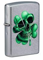 Zippo Lucky Skull Design Street Chrome Windproof Pocket Lighter, 49260
