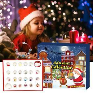 Christmas DIY Beading Xmas Advent Calendar Blind Box Glass Bead Crystal Bracelet