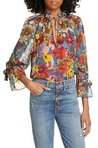 NEW ALICE + OLIVIA Julius Raglan Sleeve Floral Print Blouse TOP SIZE S SMALL *E
