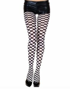Music Legs Opaque Checker/Check Tights Harlequin Jester Stockings Costume