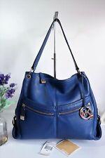 "MICHAEL KORS ""Layton"" Shoulder Hobo Bag Large Sapphire Blue Leather ~ Ex Con"