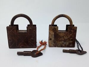 Antique Original Iron Screw System Padlock Hand Carved Pad Lock 2pc Collectible