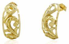 Women's 14k SOLID Yellow Gold Hawaiian Oval Stud Drop Earrings