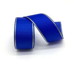 "Blue 5 yds 1"" Gold Metallic Edge Grosgrain Ribbon Wedding Party Decoration"